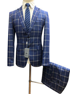 Roettoni Royalblue Suit For Men Plaid Slim Fit 2PCS Set Wedding Party Dinner Single-Breasted Masculino Costume 2020 Fashion New