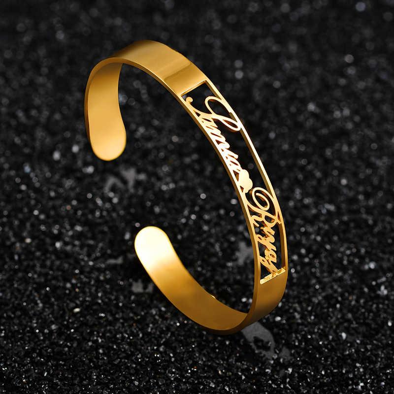 Atoztide 2019 Baru Personalized Nama Kustom Gelang untuk Wanita Stainless Steel Pribadi Terbuka Cinta Gelang Perhiasan Hadiah untuk Kekasih