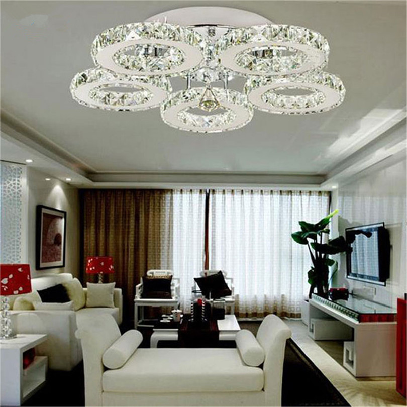 3/5 Rings K9 Crystal LED Chandeliers Lighting Modern Chrome Plafon Lustre Luminaire  Stainless Steel Ceiling Lamps  For Kitchen