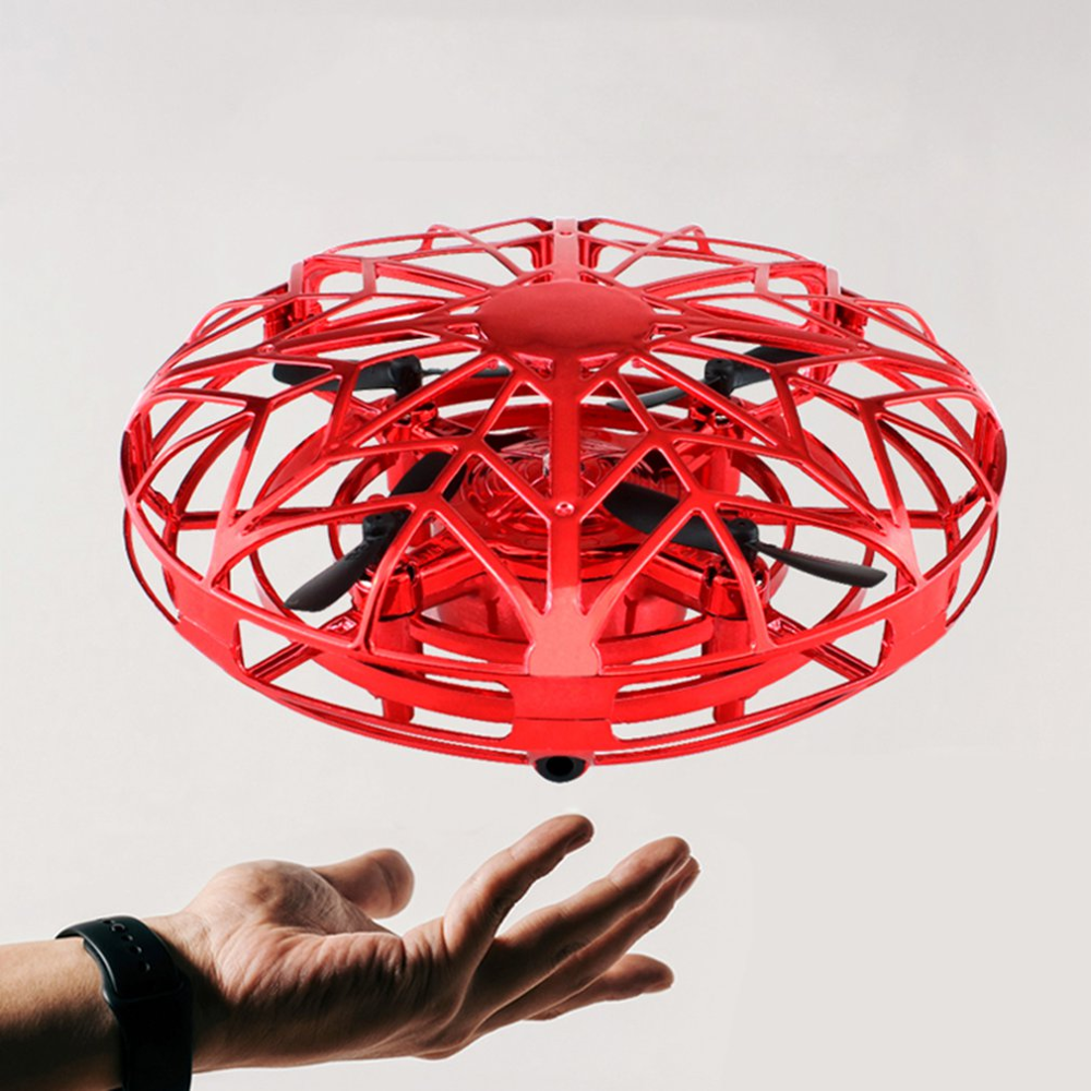 Hand Operated Mini Drone for Kids Flying UFO Helicopter Toy Infrared Interactive Mini Drone Quadcopter Induction Levitation UFO LED Light 360 Degree Rotation