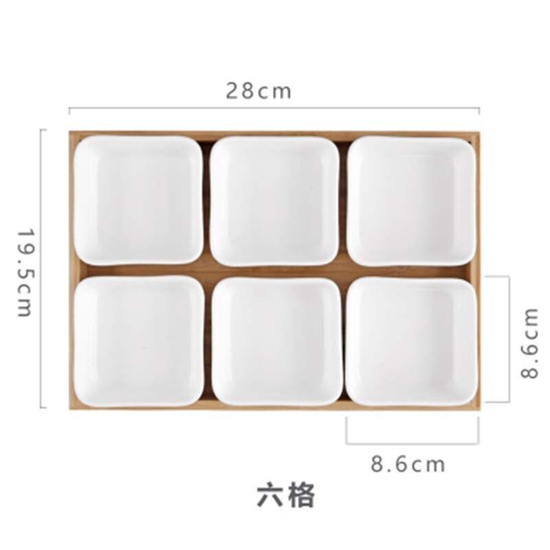Многофункциональная керамическая коробка бамбуковые поддоны для хранения домашней кухни еда десерт чайная тарелка гайка закуска Конфета Органайзер украшение поднос для сервировки-5
