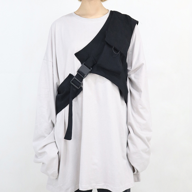 New Harajuku Rock One Shoulder Buckle Cool Vest For Men Women Streetwear Tactical Light Detachable Vest Accessory Black