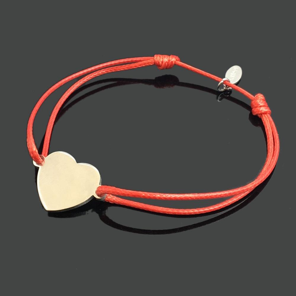 2 шт браслет желаний из нержавеющей стали, регулируемый шнур, хороший браслет, приносящий удачу, красный браслет дружбы - Окраска металла: stainless heart