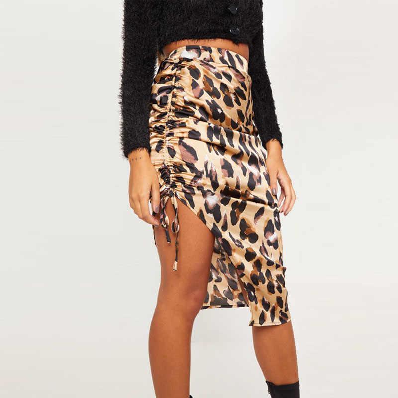 2019 весенне летняя женская юбка с высокой талией сексуальная леопардовая