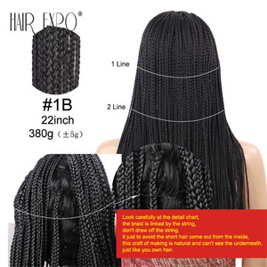 Image 5 - 22inch Long Box Braid Wig Black and Brown Synthetic Micro Twist Braid Wigs Hair for African Women Hair Expo City