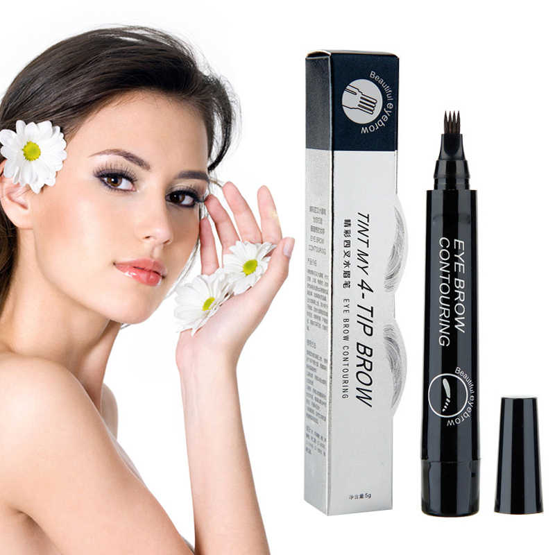4 Fork Tip Eyebrow Tattoo Pen Brown Eye Brow Enhancer Dye Tint Liner Professional Lasting Waterproof Liquid Eyebrow Pencil TSLM1