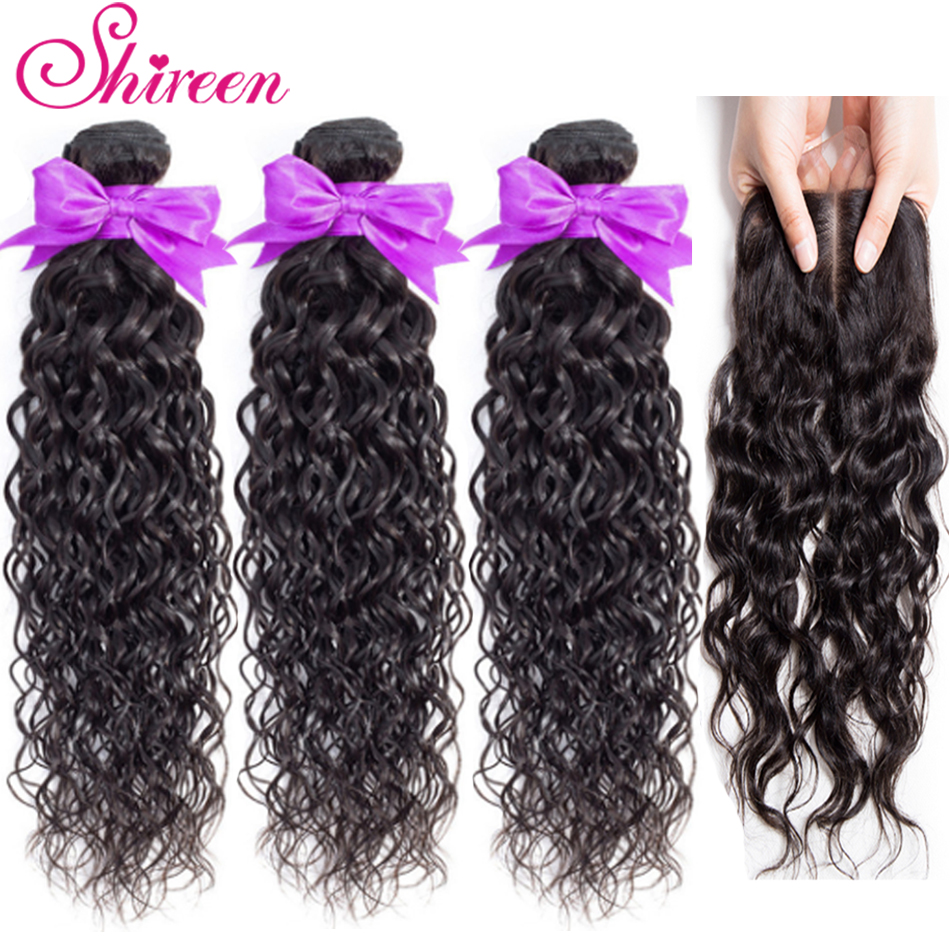 Brazilian Hair Water Wave Bundles With Lace Closure With Baby Hair 3Pieces Tissage Cheveux Humain Non Remy Human Hair Bundles
