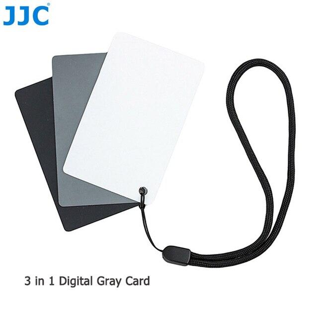 JJC 3in1 Set di carte per bilanciamento del bianco 18% calibrazione della fotografia di carte grigie per Canon Nikon Sony Fuji Pentax DSLR accessori per fotocamere