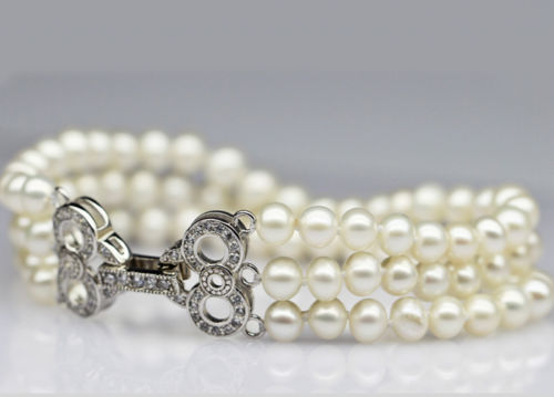 >>>>s618 NEW 3 row AAA Natural Genuine freshwater Round 6-7mm White Pearl bracelets