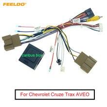 Feeldo carro 16pin cablagem de áudio com caixa canbus para chevrolet cruze trax aveo estéreo instalação adaptador fio
