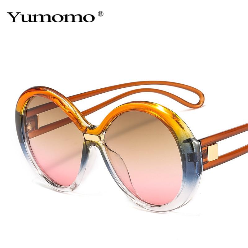 Модные большие круглые солнцезащитные очки для женщин, винтажные цветные овальные линзы, популярные мужские солнцезащитные очки с защитой ...