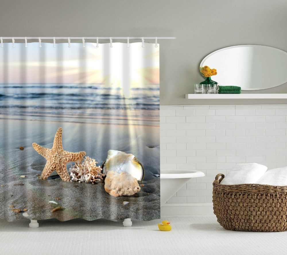 شاطئ البحر شل مطبوعة دش الستائر Frabic مقاوم للماء البوليستر المناظر الطبيعية الخلابة ستائر الحمام مع السنانير