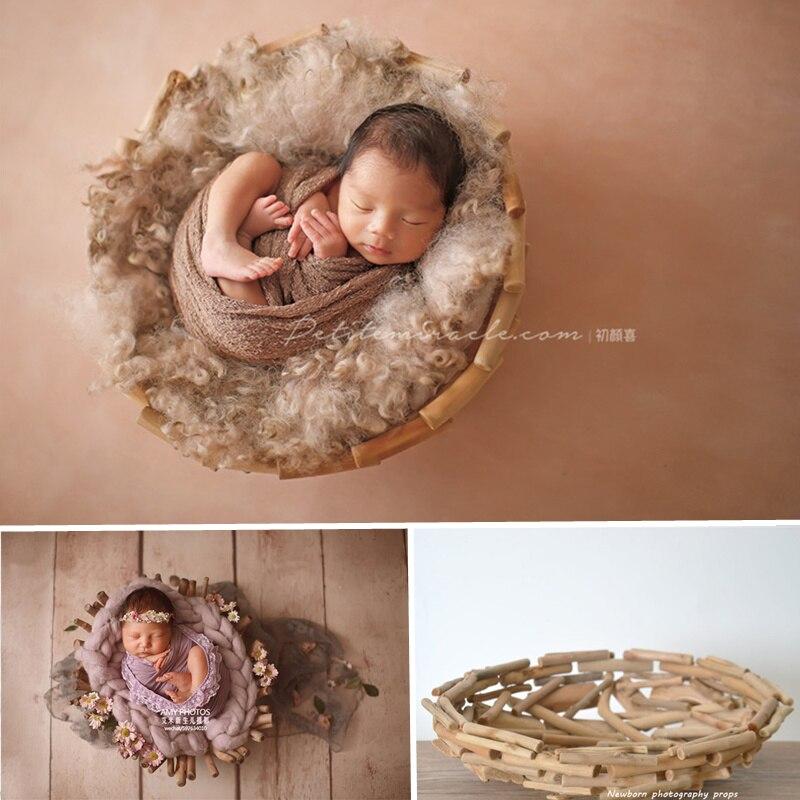 Studio Photography Props Retro Solid Wood Basket Rattan Baby Posing Bois Sofa Baby Photography Props Bebes Newborn Fotografia