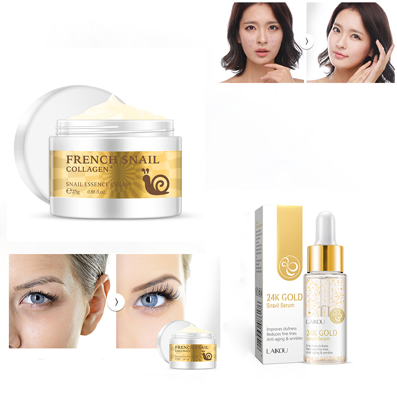 Snail Face Cream+24K Essence Acne Scar Removal Cream Hyaluronic Acid Anti-aging Moisturizer Face Skin Care Whitening Cream TSLM1