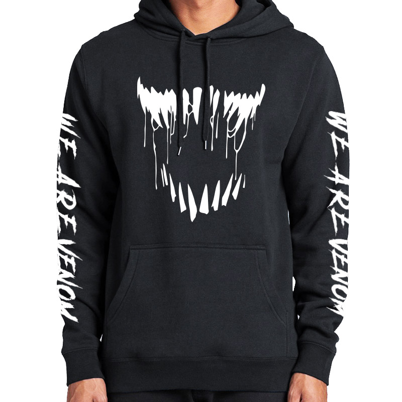 Comic Thick Venom Hoodie Sweatshirts Superhero Anime Cool Black Autumn Winter Tops Plus Velvet Warm Hoody