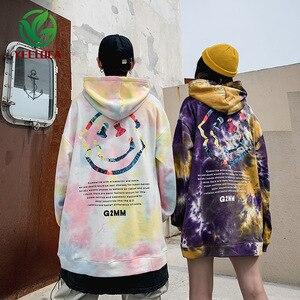 Image 4 - 2019 Dropshipping Männlichen Weibliche Camouflage Smiley Tie Dye Retro Herbst Winter Hoodie Sweatshirt Hip Hop Lose Jugend Paar Hoodie