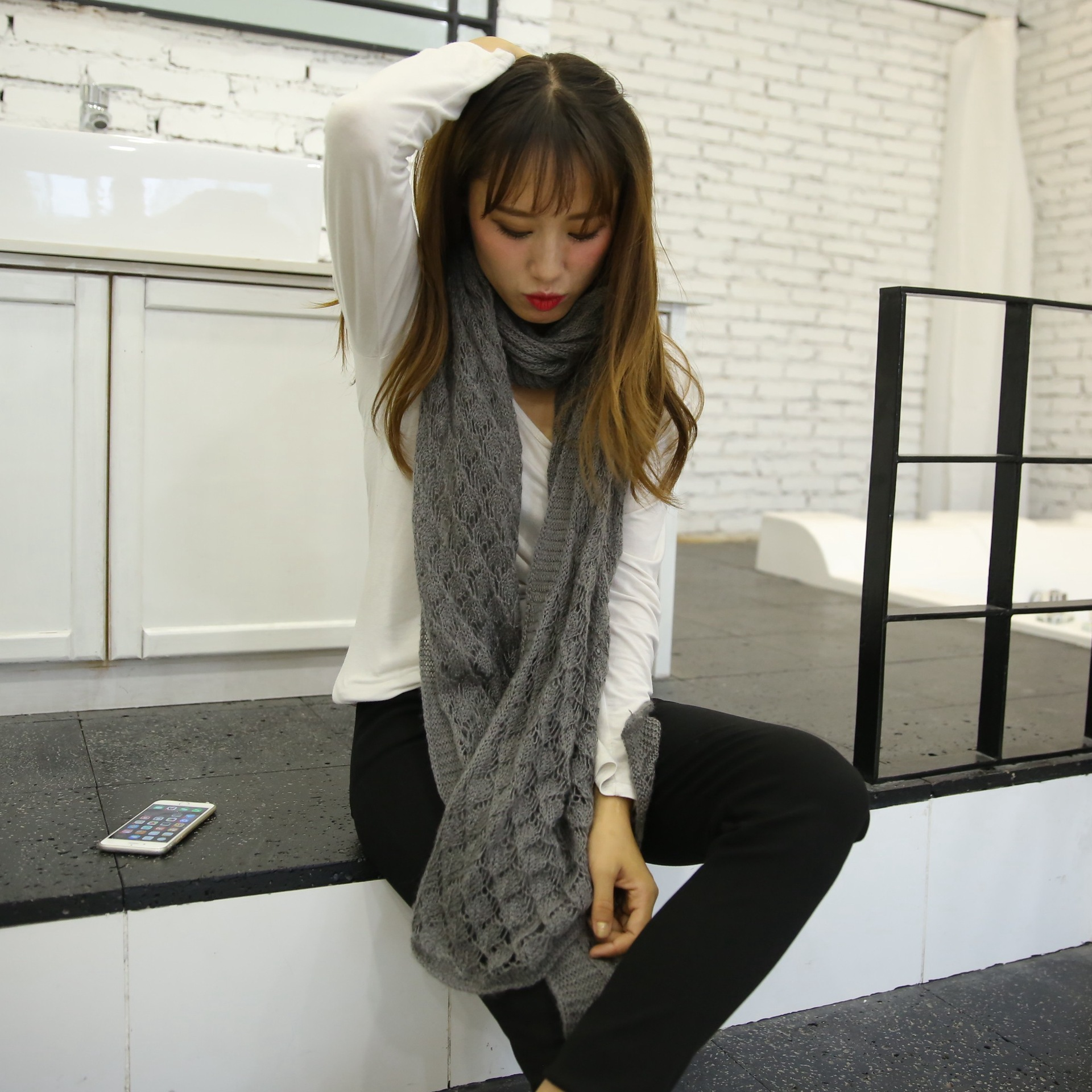 2019 Korean-style Autumn And Winter Women's Ultra-Long Mohair For Both Men And Women Jacquard Crochet Decoration Monochrome Scar