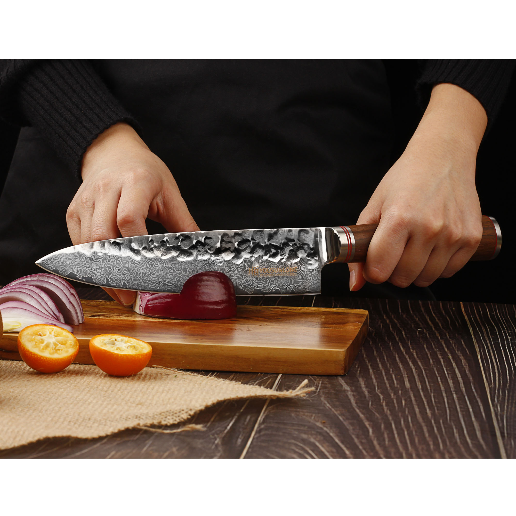 YOUSUNLONG Chef Knife 8 Inch Professional Gyuto Damascus Steel V10 Steel Core,Natura Americas Walnut Wood Handle 2