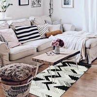 American style cowhide patchwork carpet , big size genuine cow leather black and white striped decorative bedside rug 80x160cm