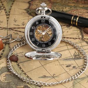 Image 5 - Fashion Hollow Bloem Zilveren Hand Kronkelende Mechanische Zakhorloge Luxe Zilveren Metalen Web Case Hand Winding Horloge Sets + Doos tas
