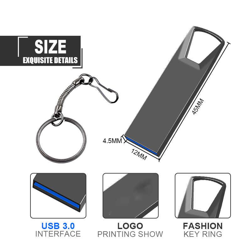 Impermeable Mini USB 3,0 memoria de metal USB Flash Drive 128GB U disco clave Pendrive 64GB 32GB 16GB memoria USB de 8GB con logotipo personalizado