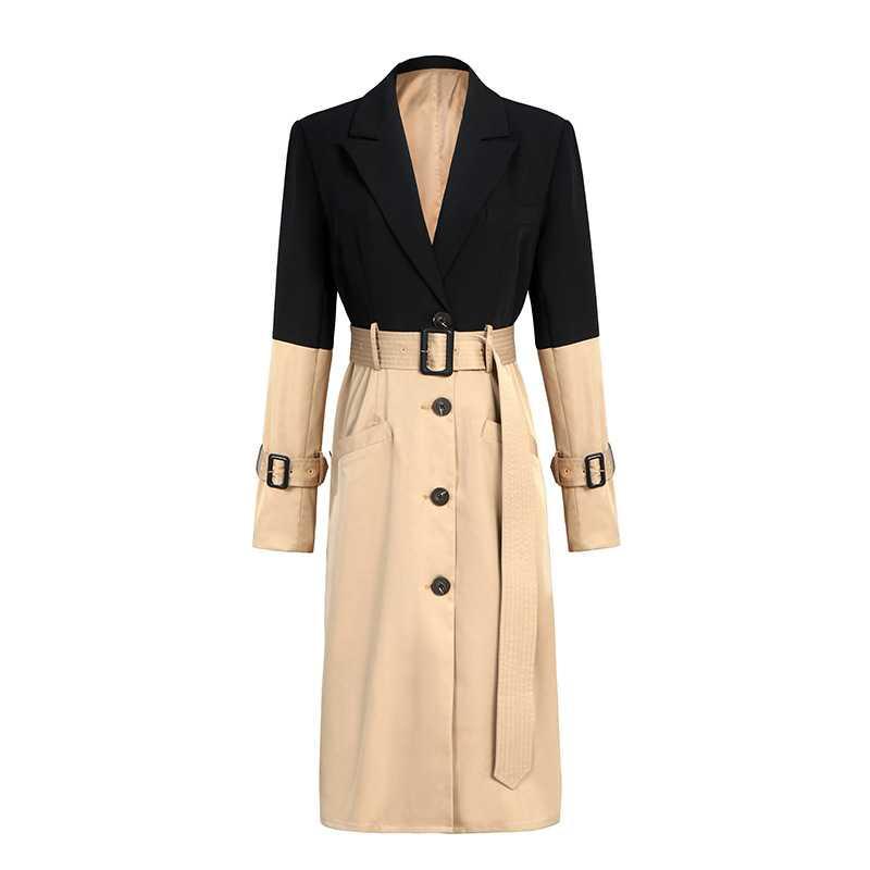Brand Fashion Women's High-end Luxury Elegant Autumn Winter England Stitching Khaki Windbreaker   Trench   Coat