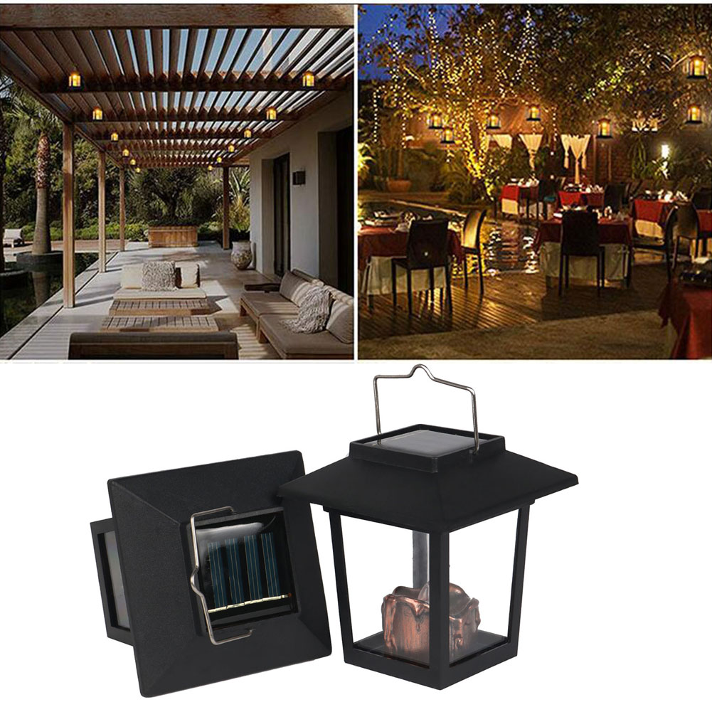 Yard Garden Led Retro Flickering Hanging Lantern Candle Bright Pathway Decoration Outdoor Palace Light Solar Lamp Waterproof