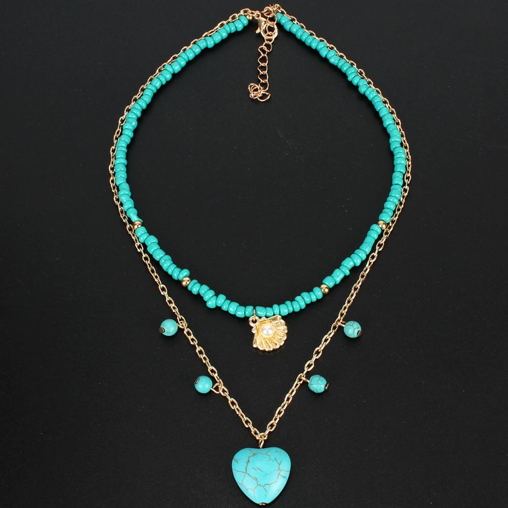Wgoud Heart Pendant Necklace Bohemian Statement Fashion Two Layer Seed Bead Chains Natural Stone Necklace For Women Gift