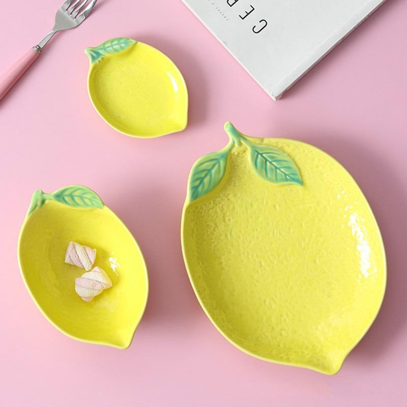 Купить тарелка в форме лимона керамическая тарелка миска для риса семейная