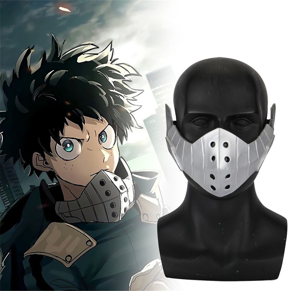 Us 21 69 30 Off Anime Academia Izuku Midoriya Deku Cosplay Face Mask Silver Pvc Props Halloween Carnival Props Accessory Gift On Aliexpress