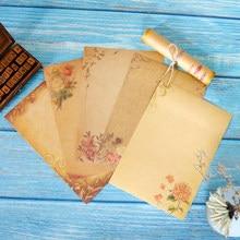 16 folhas de design da flor do vintage kraft carta papel criativo marrom ofício escrever papelaria carta almofada material de escritório