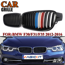 MagicKit Pair Gloss Black M Color Front Kidney Grille For BMW 3 Series F30 F31 F35 F80 2012 2013-2016 Racing Grills 328i 335i 1 pair f30 car styling front grill style f31 kidney black replacement grille hood for bmw 3 series f30 f31 2012 2016 gloss black