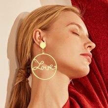 EN Fashion-pendientes grandes de círculo redondo para mujer, aretes de amor calados, colgante geométrico Simple, joyería con estilo
