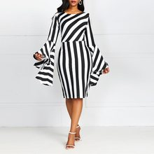 Contrast Color Striped Flare Sleeve Bodycon Dress Vintage Black African Plus Size Dresses for Women 4xl Elegant Sexy Dress недорого
