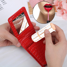 цены Lipstick Cosmetic Bag With Mirror Makeup Bag Travel Pouch Organizer PU Leather Portable Beauty Case Toolbox Small Storage Cases