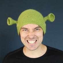Unisex Balaclava Monster Shrek Hat Wool Winter Knitted Hats Green Party Funny Beanie Skullies Cap for Women Men Pure Handmade