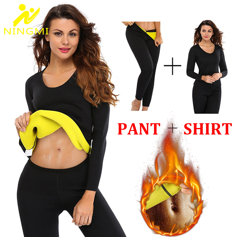 NINGMI Neoprene Body Shaper Sport Set Long Sleeve Shirt + Legging Sauna Suits Women Control Panties Pant Waist Trainer Shapewear