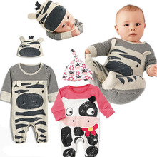 Newborn Baby Cartoon Cow Jumpsuit Long Sleeve + Cute Hat Two-piece Cotton Clothes Suit 2019 Autumn