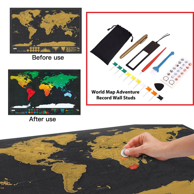 Diy Scratch Pen Set Markers Stickers 8pcs/Bag Maps Accessories Home Office Travel Travelers Gift Premium Flags Memory Sticker