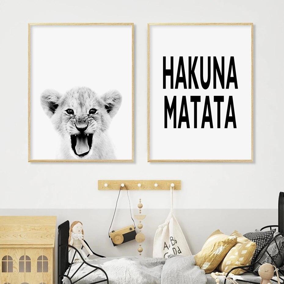 Плакаты и принты черно-белые картины на холсте с африканскими животными настенные художественные картины для детской комнаты домашние дек...