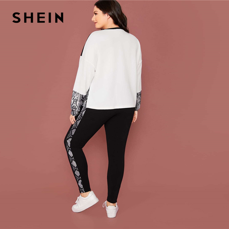 SHEIN Plus Size Snakeskin Color Block Pullover and Leggings 2 Piece Set Women Spring Sporting Casual Two Piece Sets 2