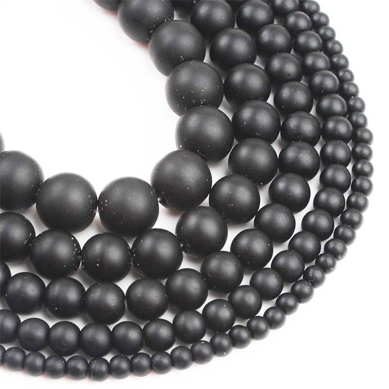 Natural Stone Black Dull Polish Matte Agates Onyx Frost Glass Beads For Jewelry Making DIY Perles Bracelet 4 6 8 10 12mm 15