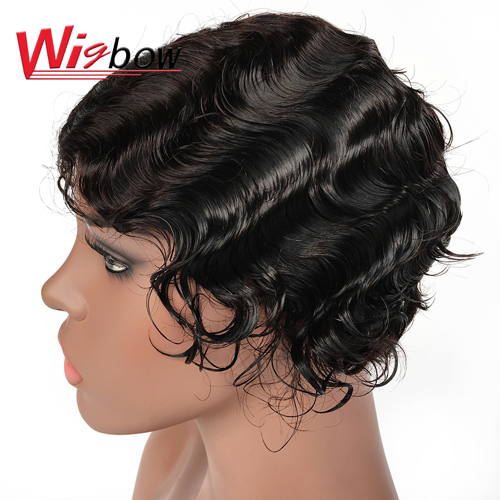Wholesale Hair Short Lace Wig Ocean Wave Human Hair Wigs Natural Finger Wave Hairline Lace Wig Brazilian Human Hair Wig