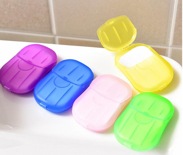 New 200box/lot 20PCS/box Disposable Mini Travel Soap Paper Washing Hand Bath Cleaning Portable Boxed Foaming Soap Paper