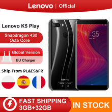 "Global Versie Lenovo K5 Spelen 3Gb 32Gb Snapdragon 430 Octa Core Smartphone 1.4G 5.7 ""18:9 Vingerafdruk android 8 13.0MP Camera"