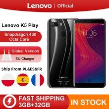 "Küresel sürüm Lenovo K5 oyna 3GB 32GB Snapdragon 430 Octa çekirdek Smartphone 1.4G 5.7 ""18:9 parmak izi android 8 13.0MP kamera"