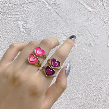 Nowy Ins kreatywny prosty kolorowy dwuwarstwowy miłość pierścień z sercem Vintage kropla oleju pierścień z sercem s dla kobiet dziewczyn biżuteria tanie i dobre opinie UETEEY CN (pochodzenie) Ze stopu cynku Kobiety Metal Śliczne Romantyczne moda Na imprezę Pierścionki