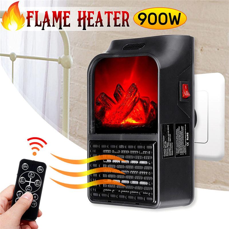 EU Plug Portable Fireplace Flame Heater Wall-Outlet Digital Plugin Electric Fan Heater Warm Air Blower Room Electric Radiator