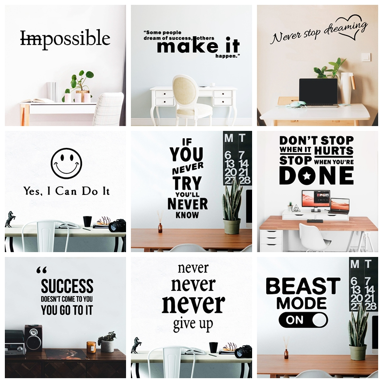 Large Size Motivation Quotes Phrase Wall Sticker For Office Room Decor Wallpaper Vinyl Decals Art Stickers vinilo Frases