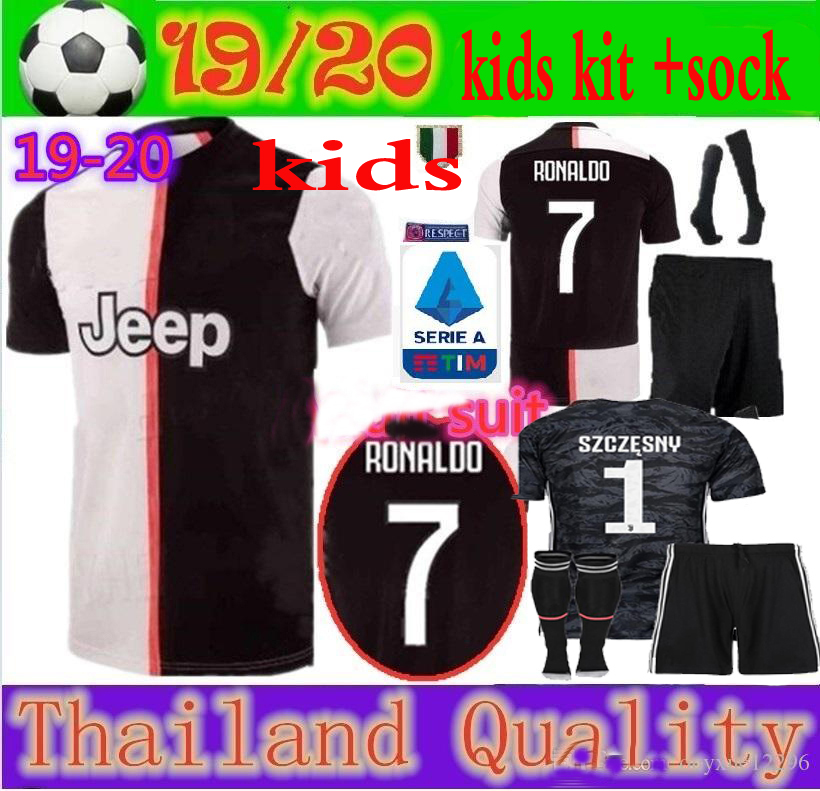 best sneakers f7a63 edbc8 US $18.79 |2019/20 Free patch NEW juvees kids kit +socks Soccer Jersey home  Ronaldo 19 20 child suit Football shirt Free shipping on Aliexpress.com |  ...